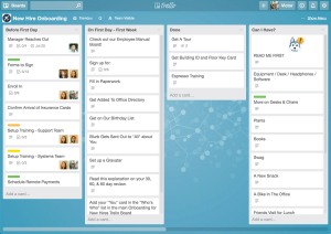A sample of Tello's boards from trello.com.